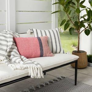 Hearth & Hand Accents - Hearth & Hand black stripe square pillow tassels